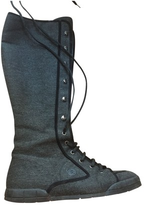 Chanel Anthracite Tweed Boots