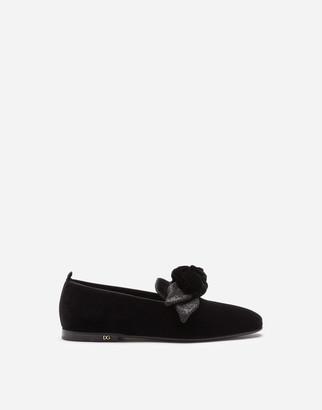 Dolce & Gabbana Velvet Slipper With Bow
