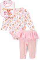 Buster Brown Orchid Pink & White 'Super Cute' Bodysuit & Bib Set - Infant