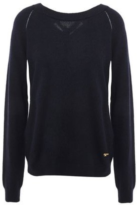 Tory Burch Satin-trimmed Knitted Sweater