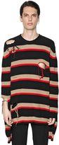 MSGM Distressed Striped Cotton Sweater
