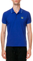 Kenzo Tipped Tiger Short Sleeve Pique Polo, Blue