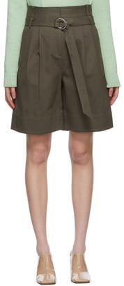 Tibi Khaki Gabardine Stella Shorts