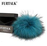FURTALK Real Raccoon Fur Pom Pom for Mobile Strap Coppia Keychain Fluffy Fox Fur Ball