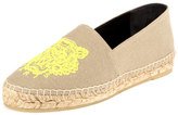 Kenzo Tiger Linen Espadrille Flat, Taupe/Yellow