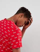 HUF T-Shirt With All Over Logo Print In Red