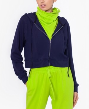 Bam by Betsy & Adam Cropped Zip Up Hoodie with Removable Dickie Mask, Created for Macy's