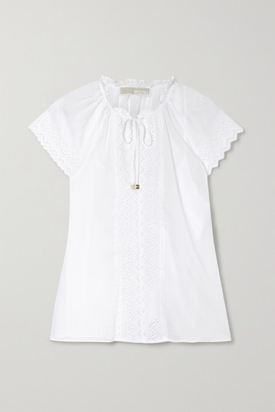 MICHAEL Michael Kors Ruffled Broderie Anglaise-trimmed Cotton Top - White
