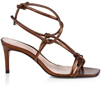 Schutz Belize Knotted Metallic Leather Sandals