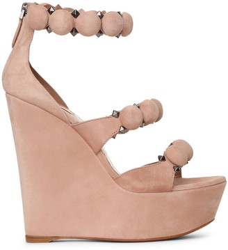 Alaia Bombe 140 beige suede wedge sandals