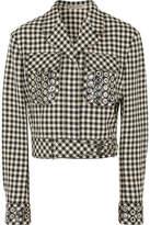Bottega Veneta Eyelet-embellished Gingham Cotton And Wool-blend Jacket - Black