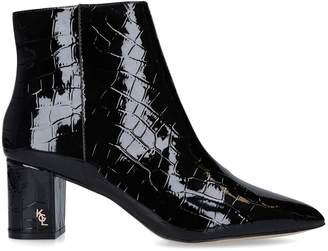 Kurt Geiger London Croc-Embossed Burlington Ankle Boots