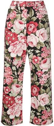 P.A.R.O.S.H. floral-print straight-leg jeans