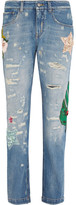 Dolce & Gabbana Appliquéd High-rise Boyfriend Jeans - Light denim