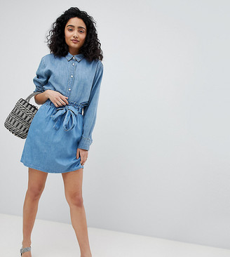 New Look Denim Paperbag Waist Skirt
