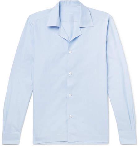 Caruso Camp-Collar Striped Slub Cotton And Linen-Blend Shirt