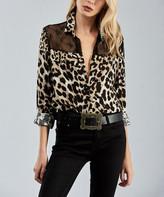 Milan Kiss Women's Button Down Shirts LEOPARD - Black Leopard Sheer Mesh-Yoke Button-Up - Women