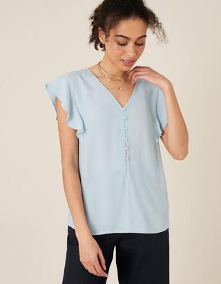 Monsoon Ruffle Short Sleeve Blouse Blue