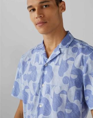 Club Monaco Short Sleeve Modern Print Shirt