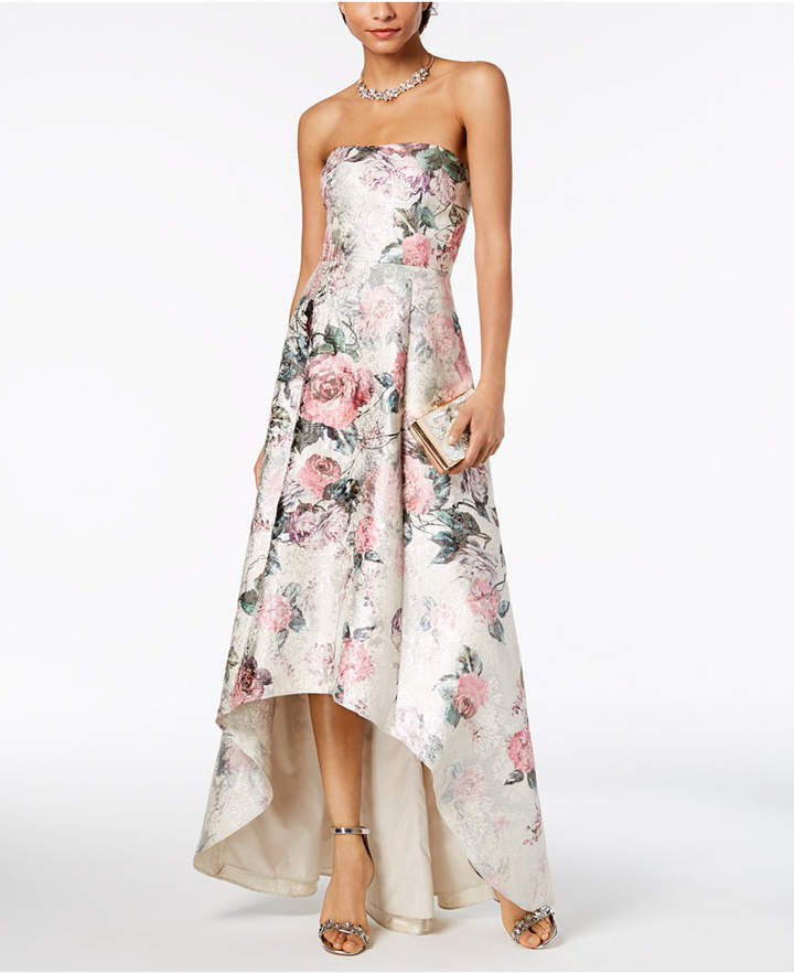 Adrianna Papell Strapless High-Low Gown