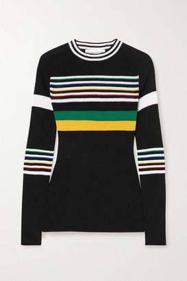 Victoria Beckham - Striped Cotton-blend Sweater - Black