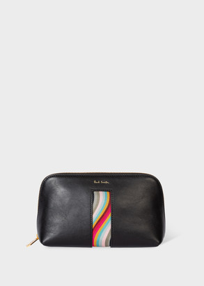 Paul Smith Women's Black Leather Make-Up Pouch With 'Swirl' Print
