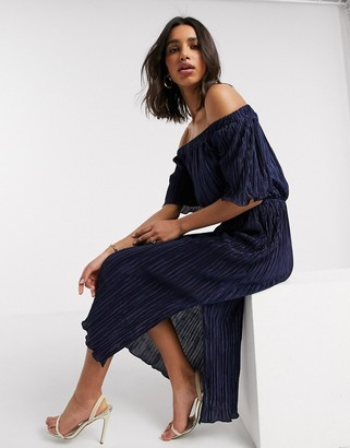 Closet London off the shoulder dress in navy