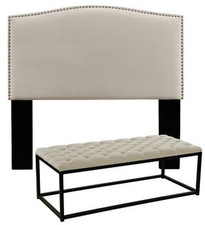 Darby Home Co Almodovar Upholstered Panel Headboard and Tufted Bench Darby Home Co Size: Queen/Full