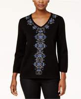 Alfred Dunner High Roller Petite Embellished V-Neck Sweater