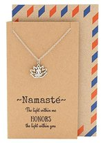 Quan Jewelry Lotus Yoga Namaste Meditation Necklace, Greeting Cards With Inspirational Quotes, 16 inches to 18 inches