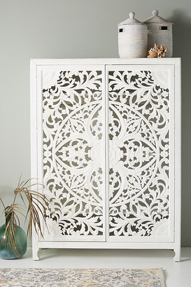 Anthropologie Handcarved Lombok Armoire By in White
