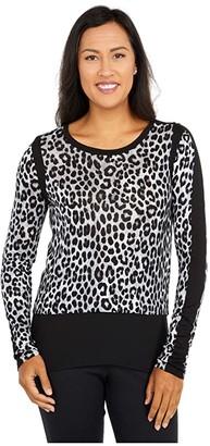 MICHAEL Michael Kors Mega Cheetah Woven Top (Gunmetal) Women's Clothing