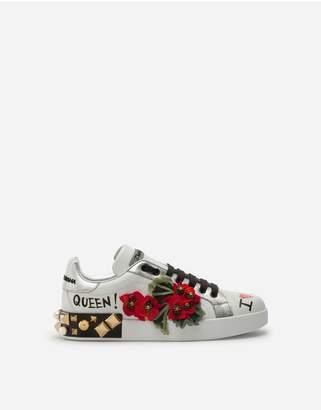 Dolce & Gabbana Printed Calfskin Nappa Portofino Sneakers With Geranium Embroidery