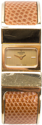 Hermes Gold-Plated Brown Leather Loquet Bangle Watch