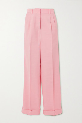 Casablanca Pleated Wool And Silk-blend Straight-leg Pants - Pink