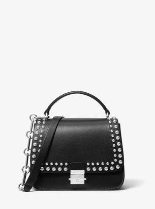 Michael Kors Mia Small Studded Calf Leather Shoulder Satchel