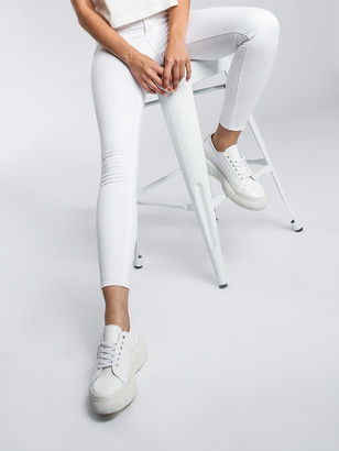 Articles of Society Lisa High-Rise Skinny Ankle-Hugger Jeans in Optic White Denim