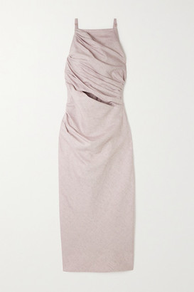 Jacquemus Cutout Cotton And Linen-blend Midi Dress - Lilac