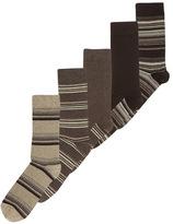 Tu clothing Brown Stripe Socks 5 Pack