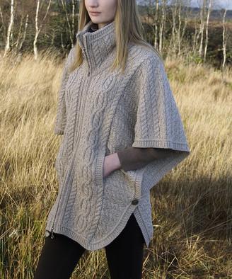West End Knitwear Women's Ponchos PARSNIP - Parsnip Merino Wool Funnel-Neck Cardigan - Women