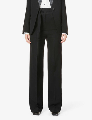 Ann Demeulemeester Belted straight-leg high-rise wool and cotton-blend trousers