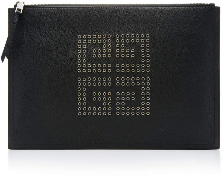 Givenchy Eyelet-Embellished Textured-Leather Pouch