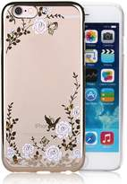 "Infinite U Jewellery Bling Rhinestone White Rose Butterfly Transparent Soft TPU Gel Cell Phone Case/Cover for iPhone 6/6s 4.7"" Women"