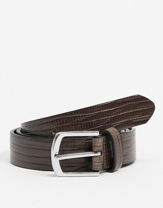 ASOS DESIGN slim belt in brown croc faux leather with silver buckle
