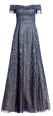 Rene Ruiz Collection Women's Off-The-Shoulder Embroidered Tiered Gown