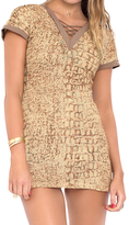 Luli Fama Secrets In The Sand Crossed Net Insert V Neck Body-Con Dress in Multicolor (L484613)
