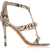 Givenchy Python Sandals With Gold Chain - Gray