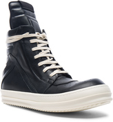 Rick Owens Leather Geobasket Sneakers