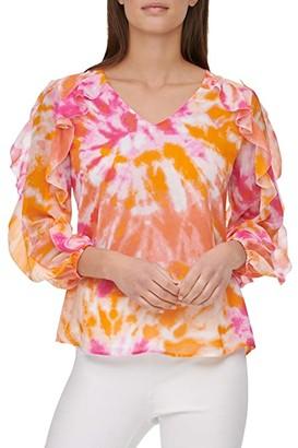 Calvin Klein Printed V-Neck Blouse w/ Double Ruffle Sleeve (White/Hibiscus) Women's Clothing