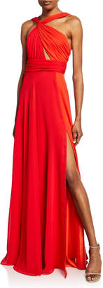 Jill Stuart Two-Tone Halter Gown with Thigh Slit